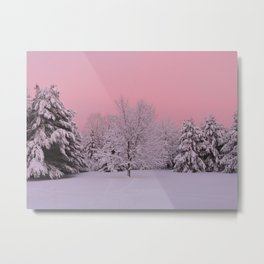 Pink Winter Sky and Snowy Trees Metal Print