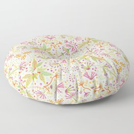 Spring Flower Meadow, Sunny Vibes in Orange, Lime & Fuchsia Pink Floral Blooms Floor Pillow