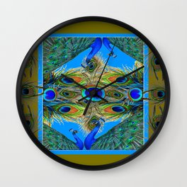 BLUE PEACOCKS KHAKI COLOR  FEATHER PATTERNS ART Wall Clock