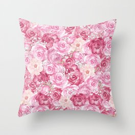 Hand painted white blush pink  coral floral Throw Pillow