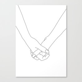 Hands line drawing illustration - Lala Canvas Print