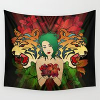 tigers Wall Tapestries featuring Flowers and Tigers by Adam Neubauer