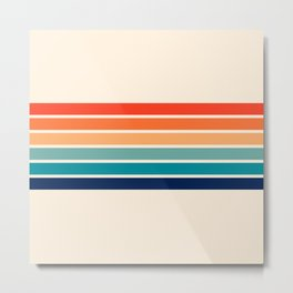 Tadama - Colorful Classic 70's Vintage Style Retro Summer Stripes Metal Print
