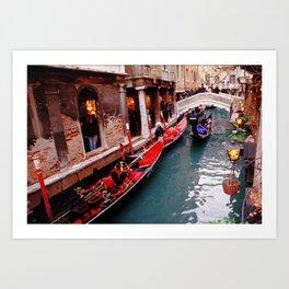 Gondolas On A Small Venetian Canal Art Print