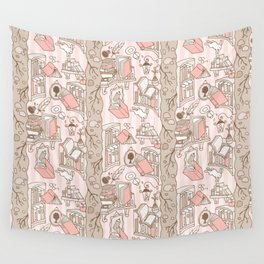 Books: Through the rabbit hole_Pink Cake Wall Tapestry