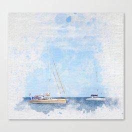 Sail boats on a calm sea Canvas Print