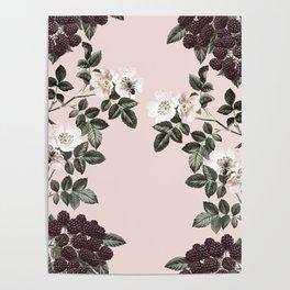 Bees + Blackberries on Pale Pink Poster