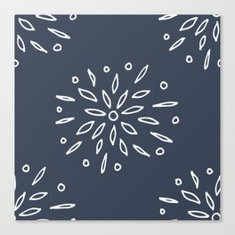 Starry Floral Pattern on Blue Canvas Print