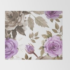FLOWERS WATERCOLOR 9 Throw Blanket