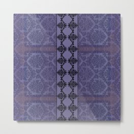 AGED PARCHMENT DAMASK, CUT VELVET in PURPLE Metal Print