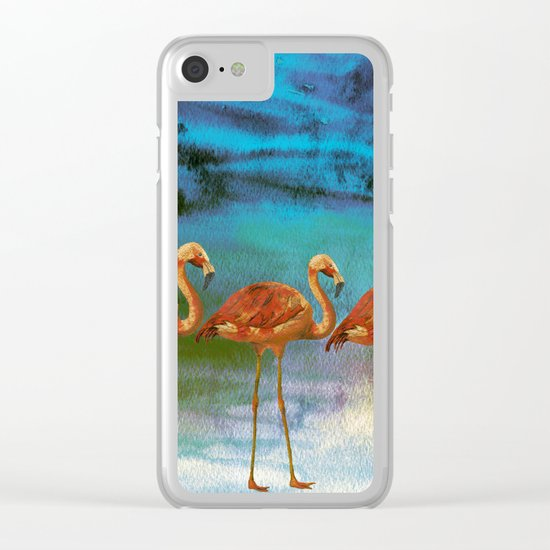Flamingo Illustration on watercolor - at night Clear iPhone Case