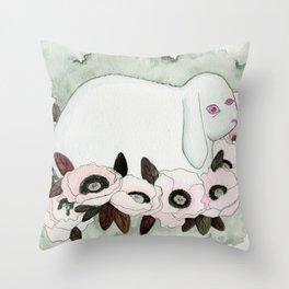 White Rabbit, Pink Poppies Throw Pillow
