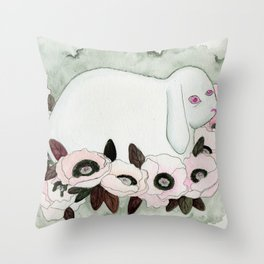 White Rabbit, Pink Poppies Throw Pillow