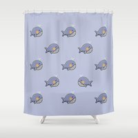 whales Shower Curtains featuring whales by Jarvis Glasses