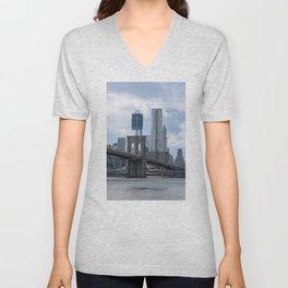 Freedom Tower Brooklyn Bridge 2012 Unisex V-Neck