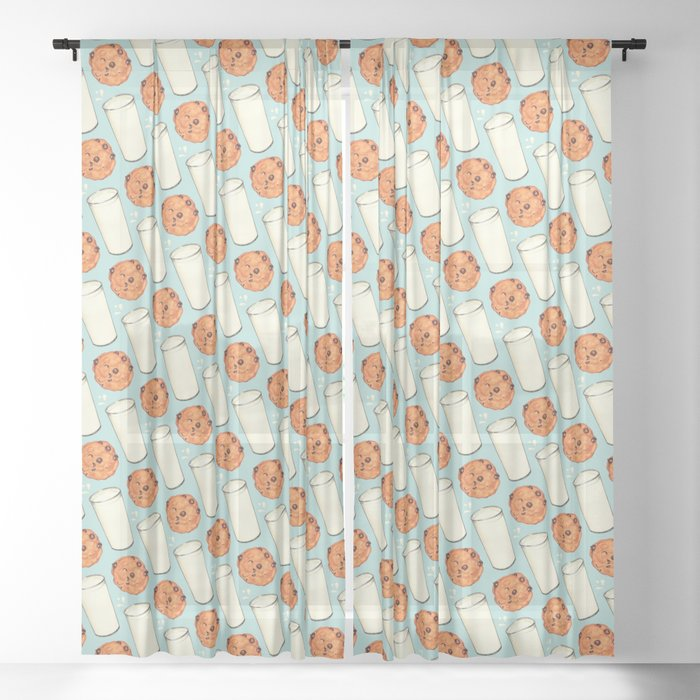 Milk & Cookies Pattern - Blue Sheer Curtain