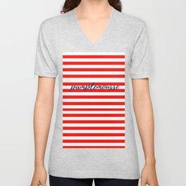 Pamplemousse with horizontal red stripes Unisex V-Neck