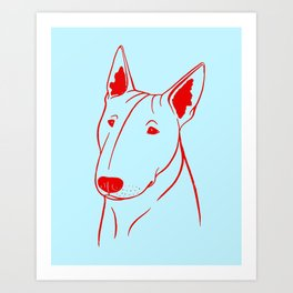 Bull Terrier (Light Blue and Red) Art Print