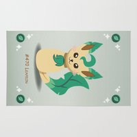 eevee Area & Throw Rugs featuring Evolution Bobbles - Leafeon by creativeesc