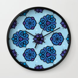 Indigo Images - repeating, symmetrical pattern - blue purple  Wall Clock