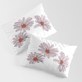 Daisy botanical line illustration - Bud Pillow Sham