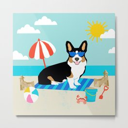 Tri Corgi Sandcastles Summer Beach Day sun corgi art tricolored corgi dog Metal Print