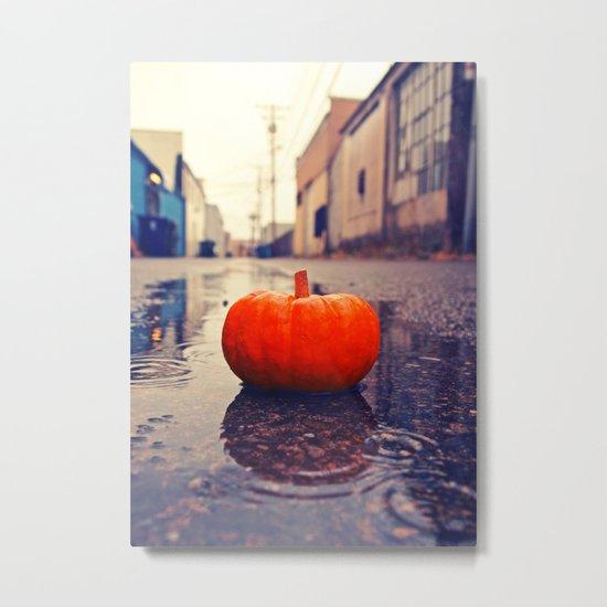 Rainy day pumpkin Metal Print