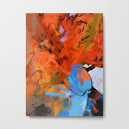 Lily Love Expression Splash Orange Blue Metal Print