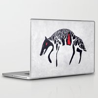 red hood Laptop & iPad Skins featuring L'il Red Riding Hood by Becca Thorne