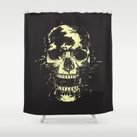 scream Shower Curtains featuring Scream (gold) by Balazs Solti