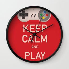 Keep Calm and Play vintage poster Wall Clock