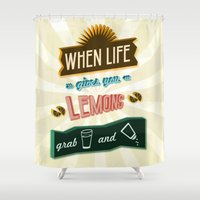 tequila Shower Curtains featuring TYPOGRAPHY TEQUILA by magdam