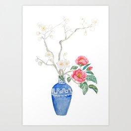 red camellia  flower white plum flower in blue vase Art Print