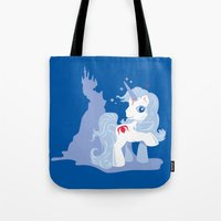 the last unicorn Tote Bags featuring My Little Last Unicorn by Ashley Hay