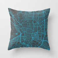 real madrid Throw Pillows featuring Madrid by Map Map Maps