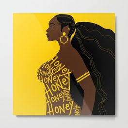 Honey // Yellow, Melanin, Woman, Femme, Black, Brown, Gold Metal Print