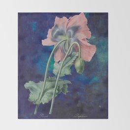 French Poppy - Vintage Botanical Illustration Collage Throw Blanket