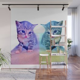 Cute Colorful Cat Couple Wall Mural