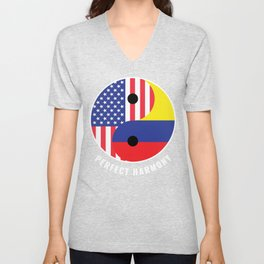 USA Colombia Ying Yang Heritage for Proud Colombian American, Biracial American Roots, Culture, Unisex V-Neck