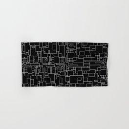 Circuitry - Abstract, geometric, black and white Hand & Bath Towel