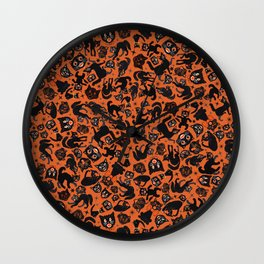 Halloween Cats on orange Wall Clock