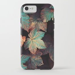 Copper And Teal Leaves iPhone Case