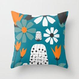 Joyful florescence in blue Throw Pillow