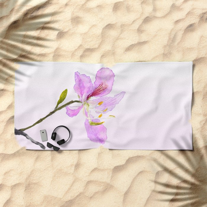 purple Buahinia Beach Towel