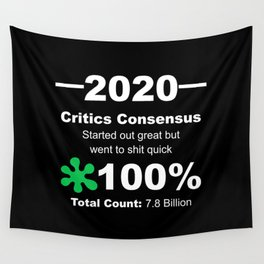 Humorous 2020 Review Rotten Tomatoes Score From World Population White Lettering Wall Tapestry