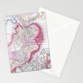 Vintage Map of Downtown Boston (1864) Stationery Cards
