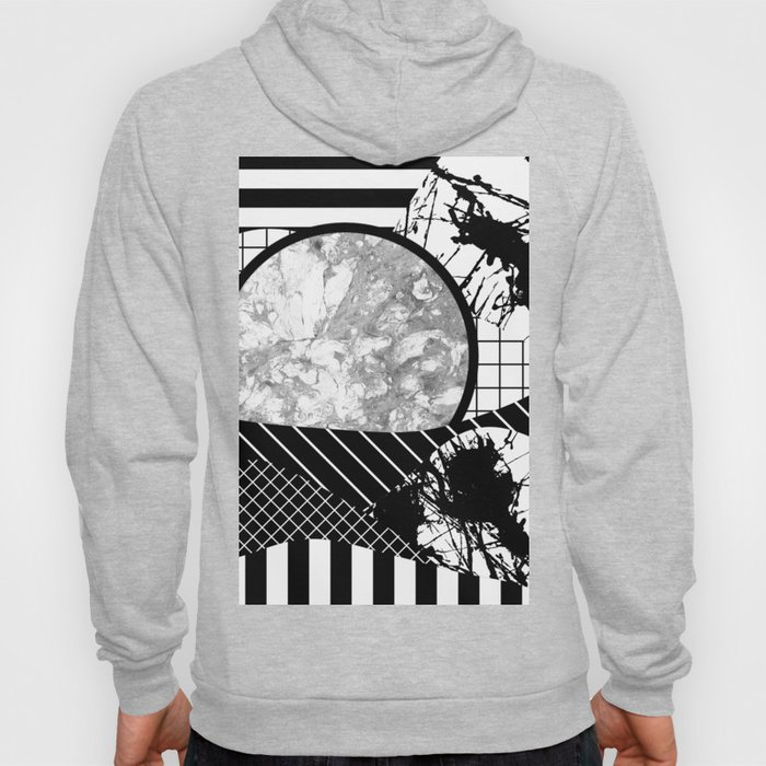 Eclectic Black And White - Black and White Abstract Patchwork Textured Design Hoody