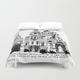 Exotic Russian Church in Nice Duvet Cover