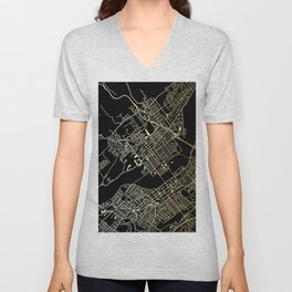 Wilkes-Barre Gold and Black Map Unisex V-Neck