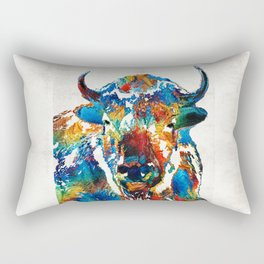 Colorful Buffalo Art - Sacred - By Sharon Cummings Rectangular Pillow